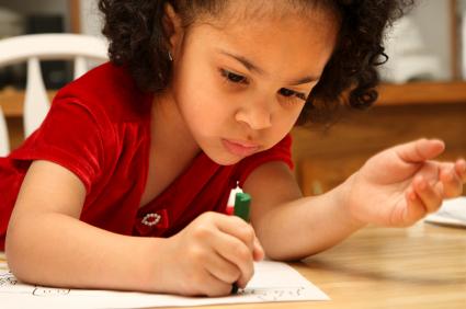 Coloring at daycare preschool