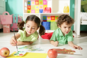 Kids Painting at Daycare